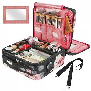Kootek Travel Makeup Bag 2 Layer Portable Train Cosmetic Case Organizer