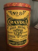 No 8 Crayola Eight Colors School Crayons Gold Medal Replica of 1903 Tin Round