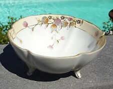 """5"""" Nippon 3 Footed BERRY NUT BOWL DISH White Yellow Floral Flower Vintage Vtg"""