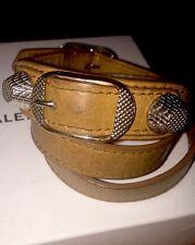 BALENCIAGA 100% AUTH CAMEL/GUNMETAL Leather Triple Tour Wrap Bracelet With Box