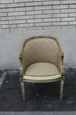 French Louis XVI Style Hand Painted Carved Chair, New Upholstery