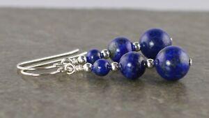 Graduated Blue Lapis Lazuli Gemstone & Sterling Silver Drop Earrings + Gift Box
