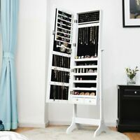 Lockable Mirrored Jewelry Cabinet Armoire Storage Organizer Box