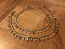 New Jewelry Gold Plated Crystal Ruby Green Ankle Bracelet Indian Payal Anklet