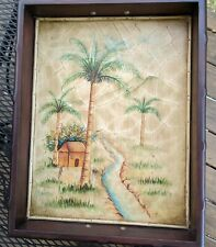 Serving Tray Wood Faux Mahogany Palm Tree Design