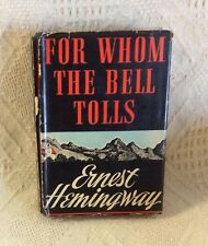 1943 For Whom The Bell Tolls Ernest Hemingway Blue HB w/ DJ Scribner's