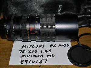 Mitsuki 75-260mm Manual Focus Zoom For Minolta MD 35mm SLR - VGC