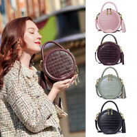 Croc Embossed Faux Leather Round Tote Handbag Crossbody Canteen Bag Small Purse