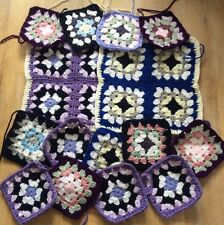 Crochet Afghan Granny Blanket Squares-Purple/Blue/Vintage Green/Pink/White X 21