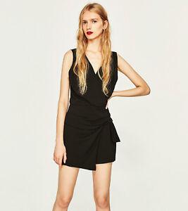 ZARA Black Knot Waist Jumpsuit Romper Playsuit Dress M