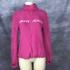 DKNY Jeans Women Junior Hot Pink Zip Up Turtle Neck Sweater Sz L Cotton DG6