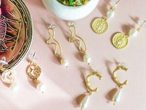 Gold Tone Faux Pearl Dangle Drop Stud Earrings Coin Abstract Matt Fashion Design