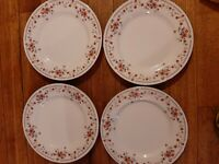 VINTAGE 4  Dynasty Fine China Copenhagen Dinner plates Platinum rim 10 1/2''   4