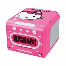 HELLO KITTY GIRLS TOP LOADING STEREO CD PLAYER ALARM CLOCK AM/FM RADIO PINK NEW