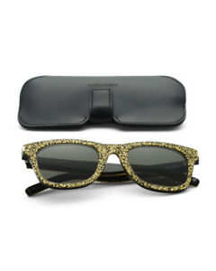 $450 Authentic Saint Laurent Paris Unisex Party Sparkle gold Designer Sunglasses