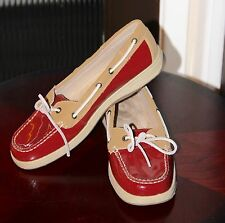 Croft & Barrow Red Patent Leather Boat Shoes - Women's Loafers 10M
