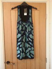 Racer back short sequin dress.Black/turquoise Size 10 Scoop neck Miss Selfridge