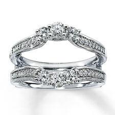 .90ct Diamond 14K White Gold Finish Solitaire Enhancer Band Wedding Ring