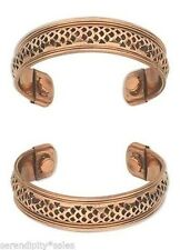 """3 each Solid Copper Magnetic Cuff Bracelet w/ """"Therapy"""" Magnets ~ Wide band 17mm"""