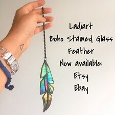 Stained glass Feather Suncatcher, Iridescent Glass Ornament Gift And Decor