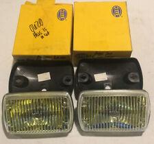 NEW! HELLA AMBER LENS FOG DRIVING LAMP Lights W/ HOUSINGS Jaguar XJS Porsche BMW