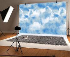White Clouds, Blue Sky, Sunny Vinyl Photography Backdrop Background Studio Props
