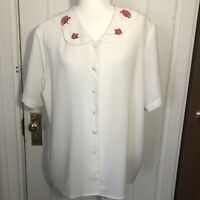 Maggie Barnes 16 W Blouse White Rose Collar Short Sleeve Size 16W