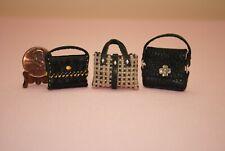 Miniature Dollhouse Handbag Purse Trio - Handcrafted -1:12