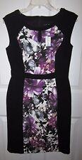 White House Black Market Purple Black Floral Keyhole Sheath Dress 8 Petite NWT