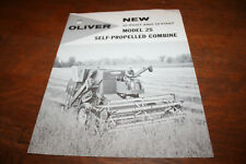 Oliver New 25 Self Propelled Combine Brochure 10 and 12 foot Header 1960!