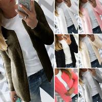 Women Spring Cardigan Solid Slim Knitted Coat Sweater Warm Outwear Short Jacket
