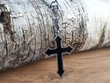 Mens Boys Unisex Osbourne's Black Skull Cross Gothic Design Necklace by Alchemy