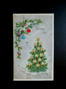 L504 Vintage 1963 Glittered Xmas Greeting Card Stunning Decorated Holiday Tree