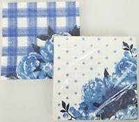 Pioneer Woman Paper Napkins Blue Floral Dots and Blue Floral Plaid Bundle of 2