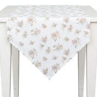 Clayre &Eef ROSES Tischläufer 50x160 Shabby Chic Weiß Beige COTTAGE VINTAGE