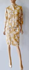 Vintage 60 70s Dale Stapp Yellow Gold Wool White Silk Skirt Jacket Suit Dress XS