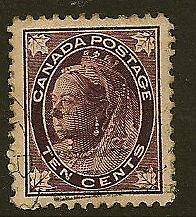 CANADA : 1898 10 cent  brownish -purple SG149 used