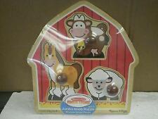 MELISSA & DOUG JUMBO KNOB PUZZLE- 2054 BACKYARD ANIMALS