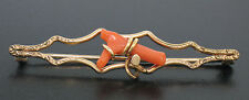 Antique Victorian 10K Yellow Gold Open Pin Brooch w/ Natural Red Branch Coral