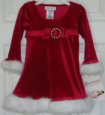 Bonnie Jean NEW girls Christmas dress size 2T red faux fur clothes