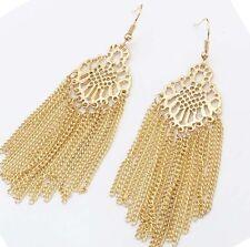 """Top Quality Tassel Chandelier Earrings 3.3"""" Long Gold Tone Fringe"""