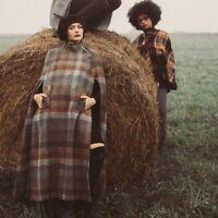 Vintage Jimmy Hourihan Plaid Cape Pure Wool Ireland Donegal Tweed Poncho Coat HK