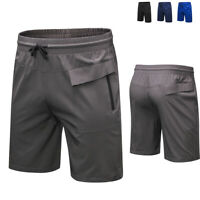 Men's Quick Dry Active Running Workout Shorts with Zip Pockets Drawstring Bottom