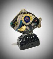 scultura vintage - pesce - cloisonne - cinese -  1be