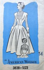 Vtg 1950s Mail Order 3828 Ruffled Sun DRESS Spencer Vest SEWING PATTERN 14 UnCUT
