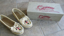 Wow Nib Vintage Quoddy Mocs Leather Moccasins Size 4.5 Shoes Hand Beaded Natural
