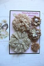 HANDMADE 5 Mixed Flowers MOCHA Lace Satin Organza Fabric 30-70mm NjoyfullCrafts