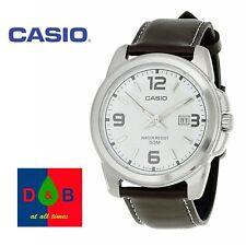 * Menor * Casio MTP-1314PL -7 AVEF Correa de Cuero Genuino Esfera Blanca Reloj 50M Usado