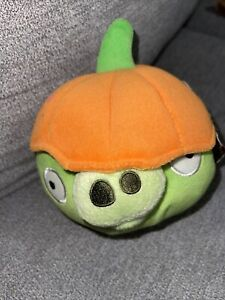 "Angry Birds Pumpkin Halloween Pig Green Plush 5"" RARE Stuffed Animal"