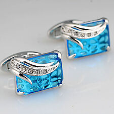 unique Mens Blue crystal silver solid gold filled Shirt Cuff Links Cufflinks